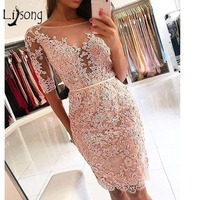 Elegant Knee Length Sheath Cocktail Dresses 2018 Sexy Half Sleeves Formal Party Dresse Robe De Cocktail Plus Size Prom Gowns