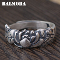 BALMORA 990 Pure Silver Lotus Flower Open Rings For Women Mothers Gift Thai Silver Vintage Jewelry
