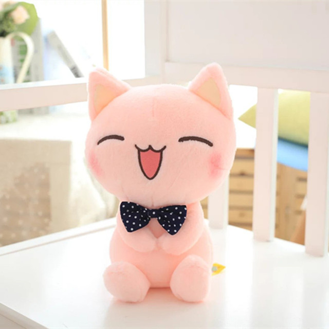 "2016 New Arrived Cat Plush Toy Pink Cat With Bow Tie Cute Cat Soft Stuffed Toy 11"" 28cm size High Quality Factory Supply 1 pc"