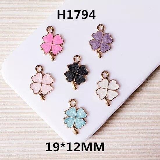 50pcs/lot color alloy drop oil cartoon clover shape alloy floating locket flowers charms diy jewelry earring/bracelet pendants