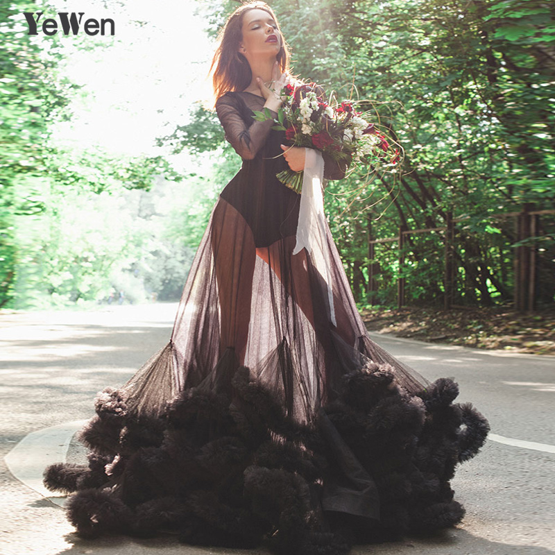 Sexy Deep pink Black see though blue Cloud Long sleeves wedding dress robe de mariee wedding gowns 2018 vestidos de noche 8005
