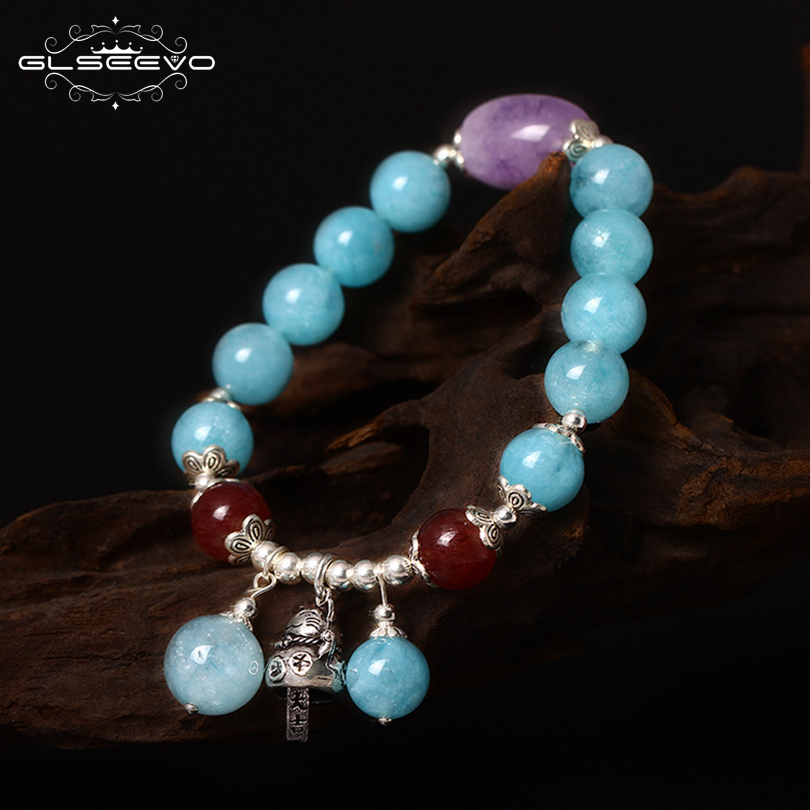 GLSEEVO 925 Sterling Silver Natural Stone Aquamarine Adjustable Women s Bracelets With Lucky Cat Charms Luxury