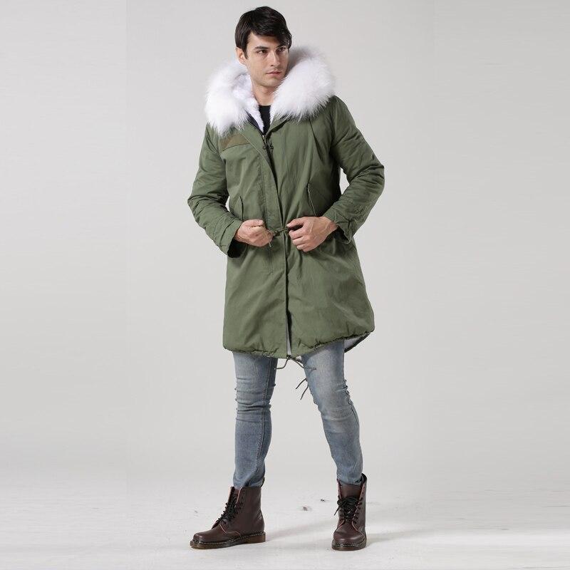 sehr 02017 hochwertigen kragen mantel fuchs stil armee US400 parkaneueste grün herren warm lange herren weißen pelz parka100baumwolle bgIYfv7y6