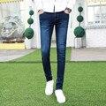 2015 новое лето дешевые тонкий тонкий джинсы мужские правда жан корейской моды синий мужской супер узкие джинсы мужчин брюки nzk11