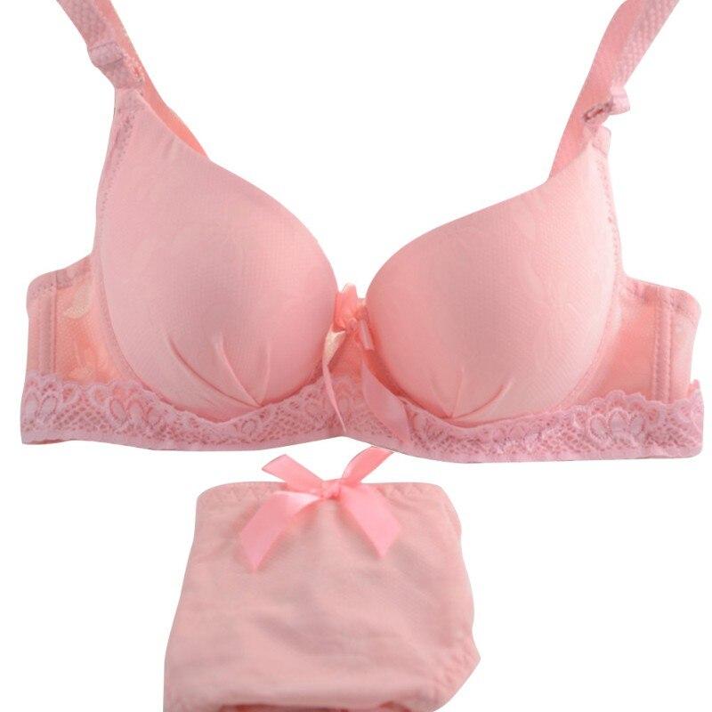 Women Bra Panty Set 2 Piece Lingerie Underwire Bra Push Up Panties Seamless Underwear Black White Blue Pink Bra And Panty Set