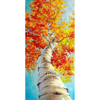 hand painted abstract oil painting Birch Oil Painting Silver Birch Tree Palette Knife from Landscape Painting on canvas