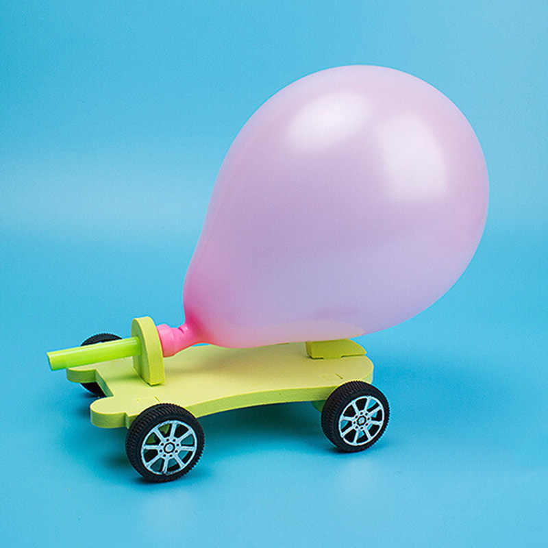 DIY Balloon Powered Car Recoil Force Science Technology Experiment Students  Toys