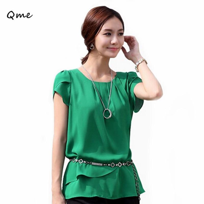 Camisa Blusa de la gasa de la blusa verde tamaño grande