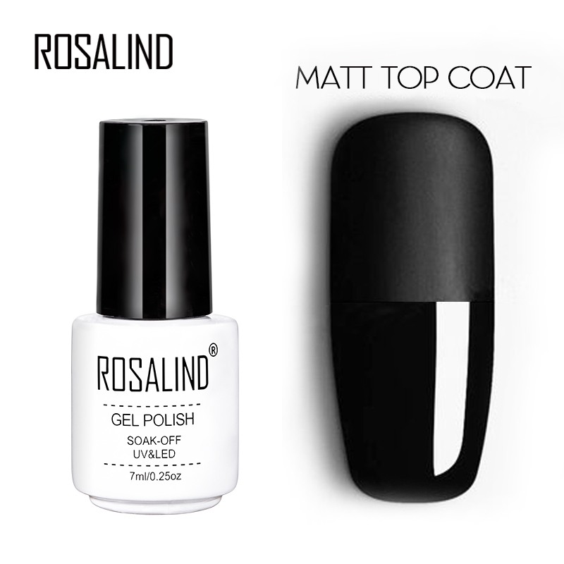 ROSALIND 7ml Matt Top Coat Gel Lacquer Long-lasting Soak-off LED UV Gel Color Manicure Polish For Nail Art Gel Varnish