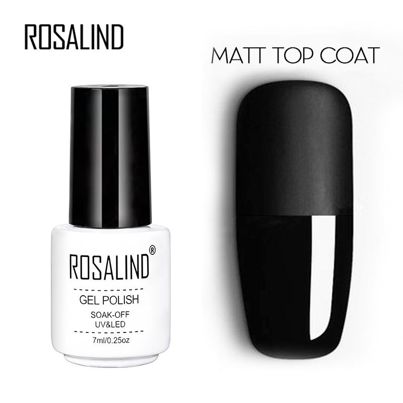 ROSALIND 7ml Matt Top Coat Gel Lacquer Long-lasting Soak-off LED UV Gel Color Manicure Polish For Nail Art Gel Varnish