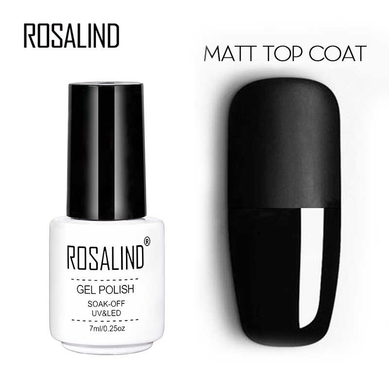 Rosalind 7 Ml Matt Top Coat Gel Lacquer Tahan Lama Rendam Off Uv Gel Warna Manikur untuk Nail Art Gel Varnish