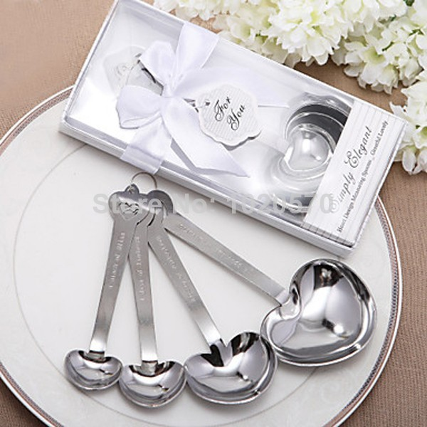 Love Beyond Measure Heart Shaped Set of Four Measuring Spoons Stainless Steel