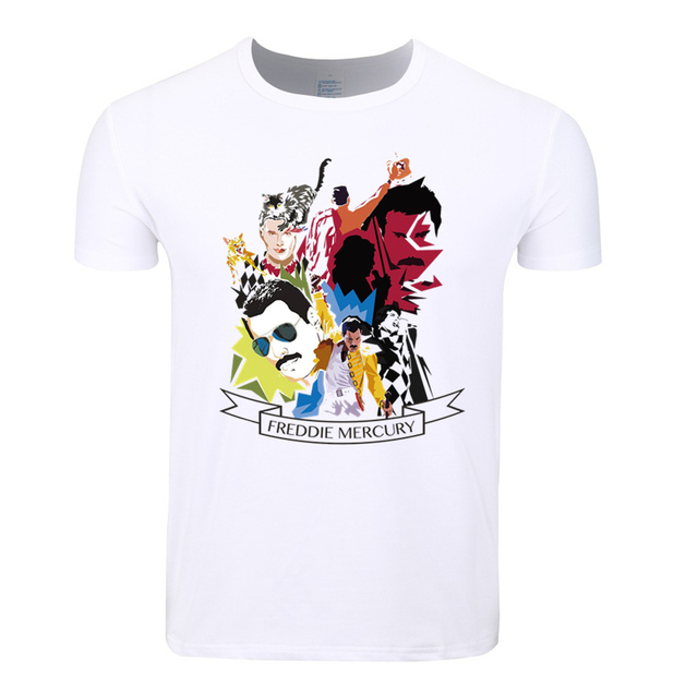 e2fa66cdc1d Asian Size Men And Women Print Rock Band Queen Freddie Mercury T-shirt O- Neck Short Sleeves Summer Casual Tshirt HCP4083