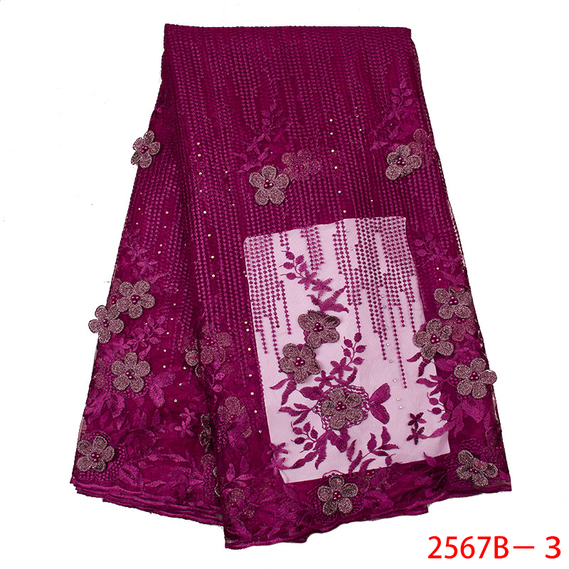 Latest Magenta African Lace Fabric 2019 Popular Beaded Tulle Lace Fabrics 3D Flowers Net Lace for