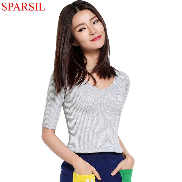 Sparsil Women Spring Cotton Blend Sweater V-Neck Pullover Female Half Sleeve Jumpers Knitted Outwear