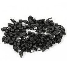 100 шт./лот, черная пластиковая нейлоновая Шестигранная стойка M3, противостояние, распорный винт для печатной платы, фиксированные пластиковые распорные винты