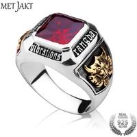 MetJakt Vintage Men's Ruby Ring Solid 925 Sterling Silver Ring for Men Punk Fine Jewelry