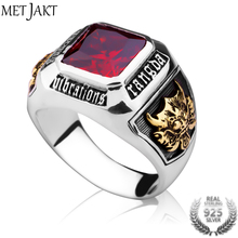 MetJakt Vintage Men's Ruby Ring Solid 925 Sterling Silver Ri