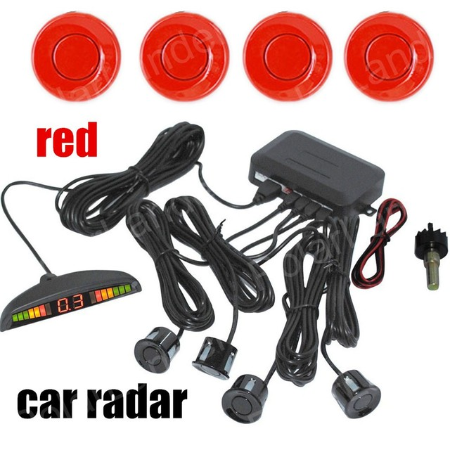 new Car Parking Sensor reverse adjustable distance Car Detector Parking Assist radar 4 sensors with LED display monitor buzzer