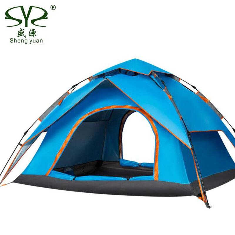 En plein air tente de camping Automatique Auvent Étanche couche double 3 Personnes Tentes Pour Loisirs de Plein Air Tourisme De Plage Gazebo
