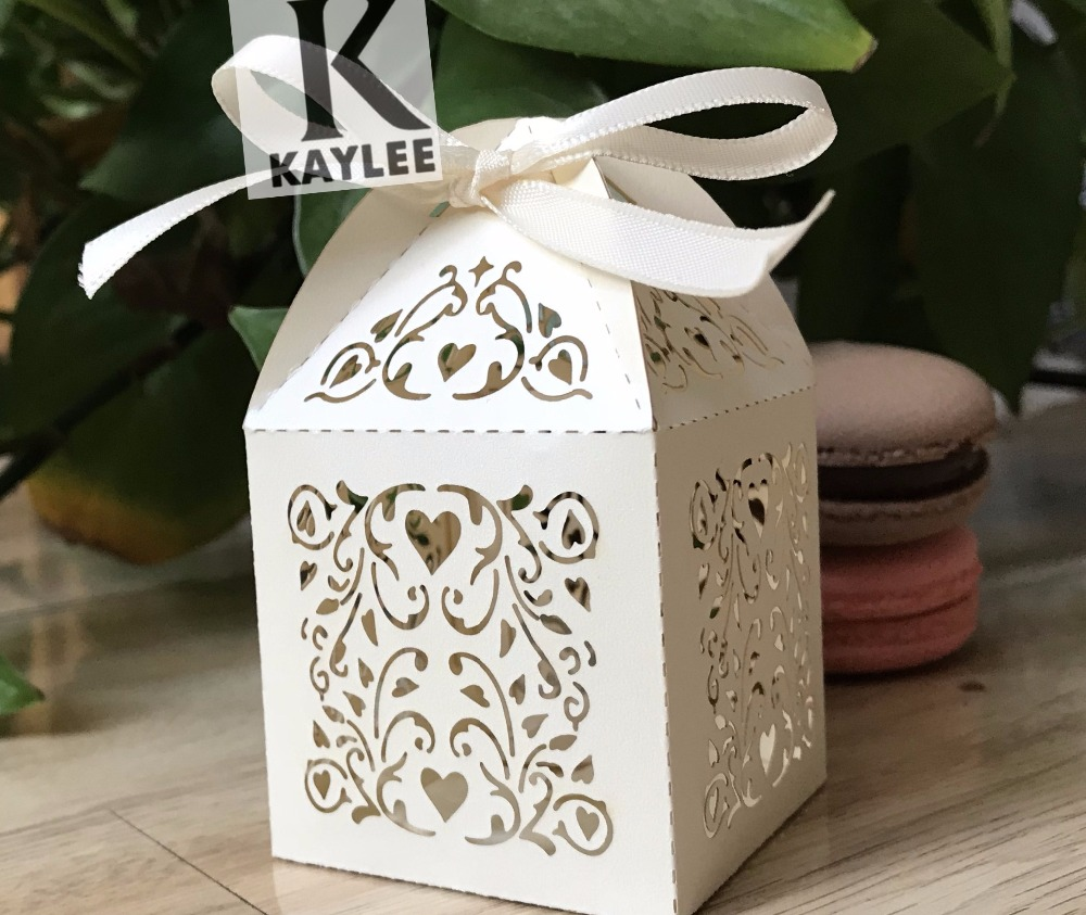 Cream Color 300pcs Weddng Favor Boxes with ribbon, Laser Cut Candy ...