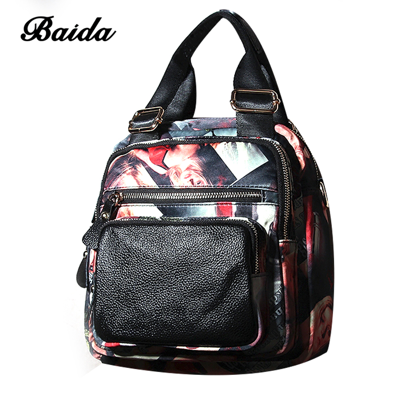 New leather backpack Korean female fashion all-match Oxford cloth backpack multifunctional travel head layer cowhide