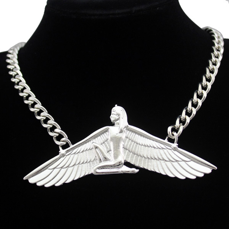 Fab Egyptian Goddess Isis Ankh Wing Chunky Choker Curb Chain Necklace Bib Wicca Pagan Jewelry 2017 New