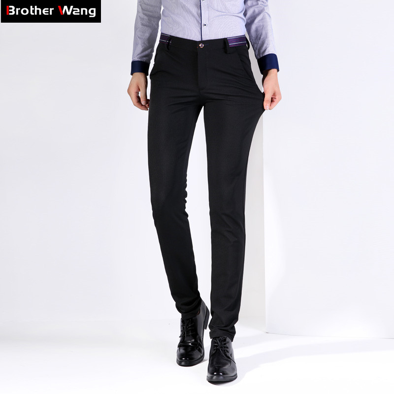 4a3f0274487e Brand Men s Casual Pants 2019 Spring New Business Fashion Overalls Solid  Color Elastic Force Trousers Male