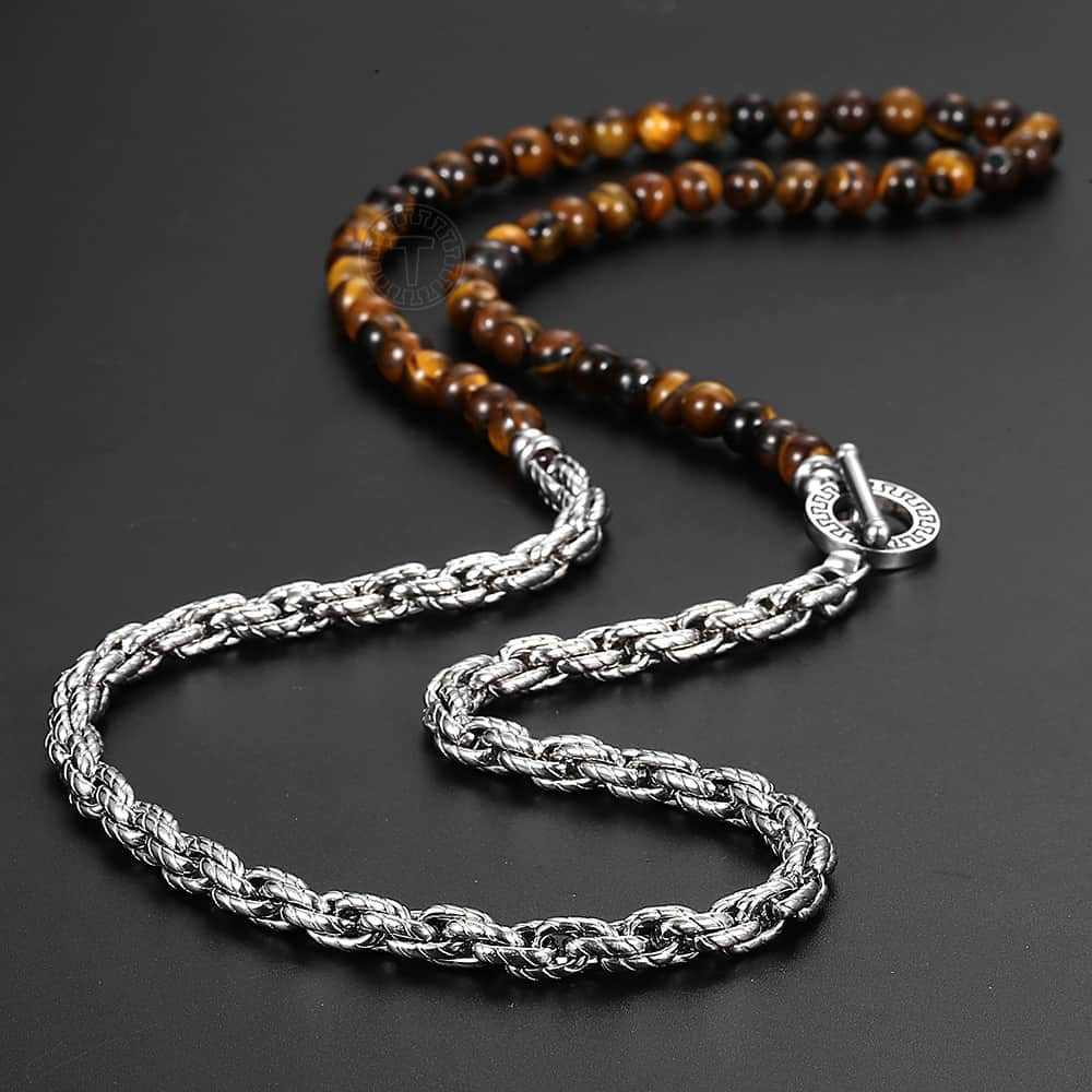 6mm Long Tiger Eyes Natural Stone Bead Necklace Stainless Steel Rope Link Chain Necklace For Women Men Jewerly Gift TNB00401