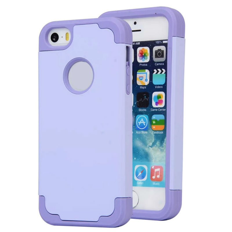 the latest a5df8 f0d2b For Iphone 5S Soft Silicone Case Rubber Protective Cover 2 In 1 Shockproof  Hard Plastic Cases For Iphone 5 SE Protection Covers