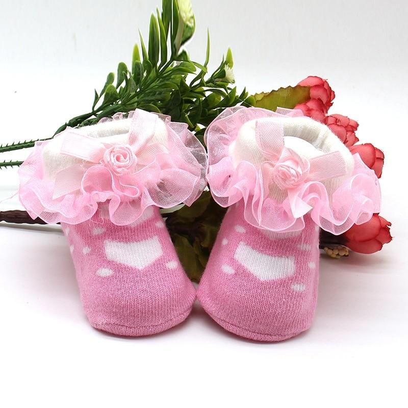 все цены на Newborn Baby Kids Girls Spring Princess Style Mesh Socks Lacework Infant Ruffled Socks