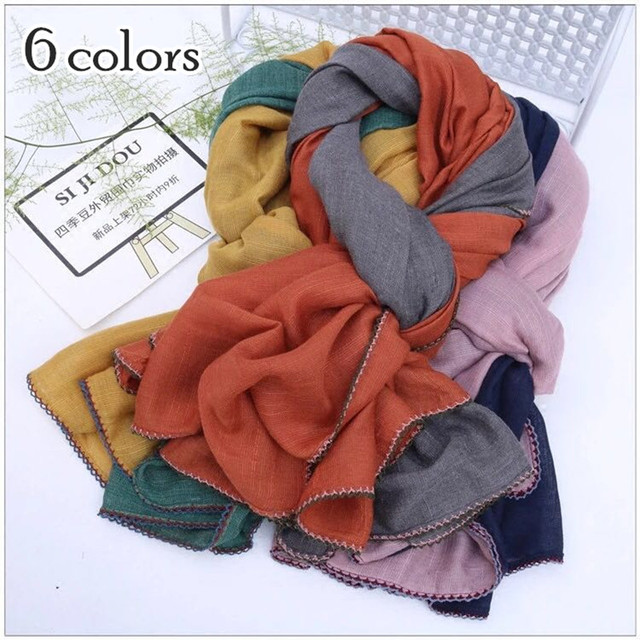New Patchwrok Plain Scarves And Shawl Winter Scarf Crochet Edges