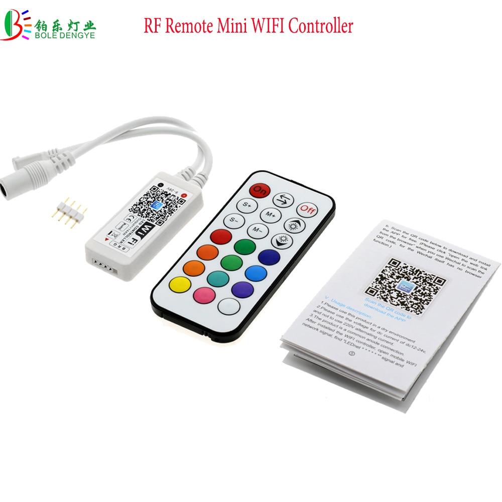 RF Remote Mini RGB Wifi Controller For RGB LED Strip 5 Pin RGBW Lighting Flexible Tape IOS/Android Smart Phone Wireless Control mini wifi 01 smart wireless 3 ch wi fi ios android phone controlled rgb light strip controller