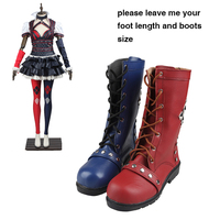 Batman Arkham Knight Cosplay Shoes Harley Quinn Cosplay Boots Adult Women Game Shoes Halloween Blue And