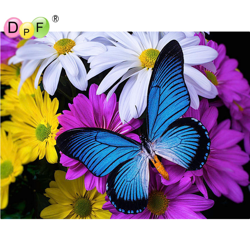 DPF Cross Stitch Diy Diamond Embroidery Pattern Rhinestone Mosaic Full Crystal Kits Home Decor Color sunflower and butterflies