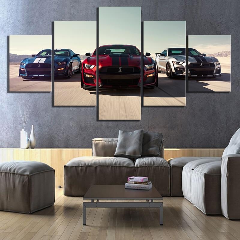 Модульные настенные картины на холсте, 5 панелей, роскошные автомобили Ford Mustang Shelby Gt500, домашний декор, плакаты, картина для гостиной