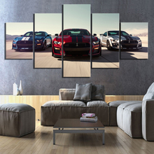 Wall Art Modular Pictures Canvas Printed 5 Panel Luxury Cars Ford Mustang Shelby Gt500 Home Decor Posters Painting Living Room printio ford mustang shelby gt500 eleanor 1967