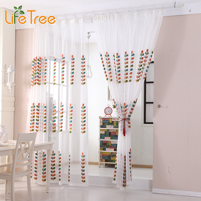 Embroidered Leaves Curtain Voile White Bedroom Window Sheer ...