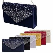 1Pc Women Sparkling Rhinestone Satin Frosted Evening Bag Handbag Clutch Purse