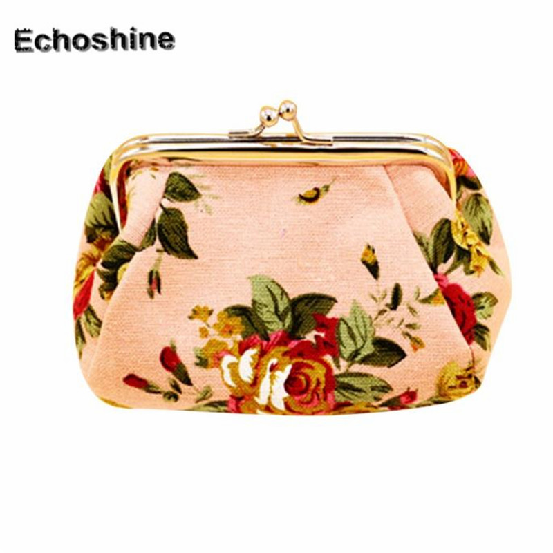 2016 new brand snd high quality Women Lady Retro Vintage Flower Canvas Small Wallet Hasp Purse Clutch Bag gift wholesale A2500