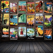 [Mike86] античные дорожные жестяные знаки знаменитые страны города винтажные настенные таблички художественная живопись плакаты FG-216