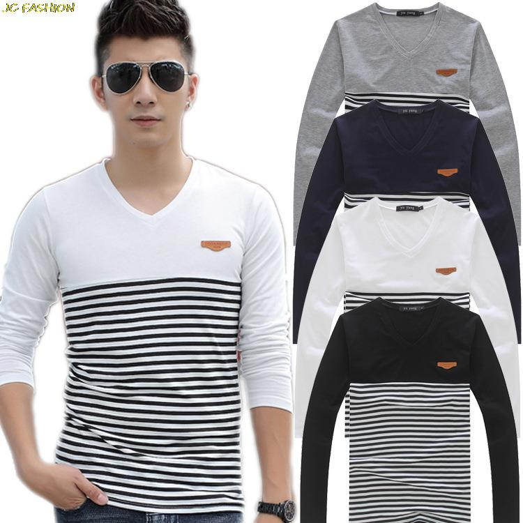 Summer style Skinny Black and white stripes Fashion T Shirts Men ...