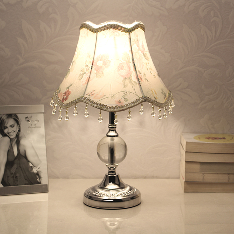 E27 Dimmable LED Table Lamps for Bedroom Crystal Fabric Bedside Lamp Table Lanterns Girl Home Decoration