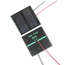 Малой мощности, 0,6 Вт 5,5 В солнечных батарей поликристаллический Панели Солнечные DIY солнечной игрушка Панель Зарядное устройство с 15 см кабель провода светодиодные 65*65*3 м