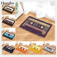 Hongbo entrada do vintage anti-deslizamento capacho fita magnética casset mix tape tapete quarto decorativo esteira da escada felpudo deurmat