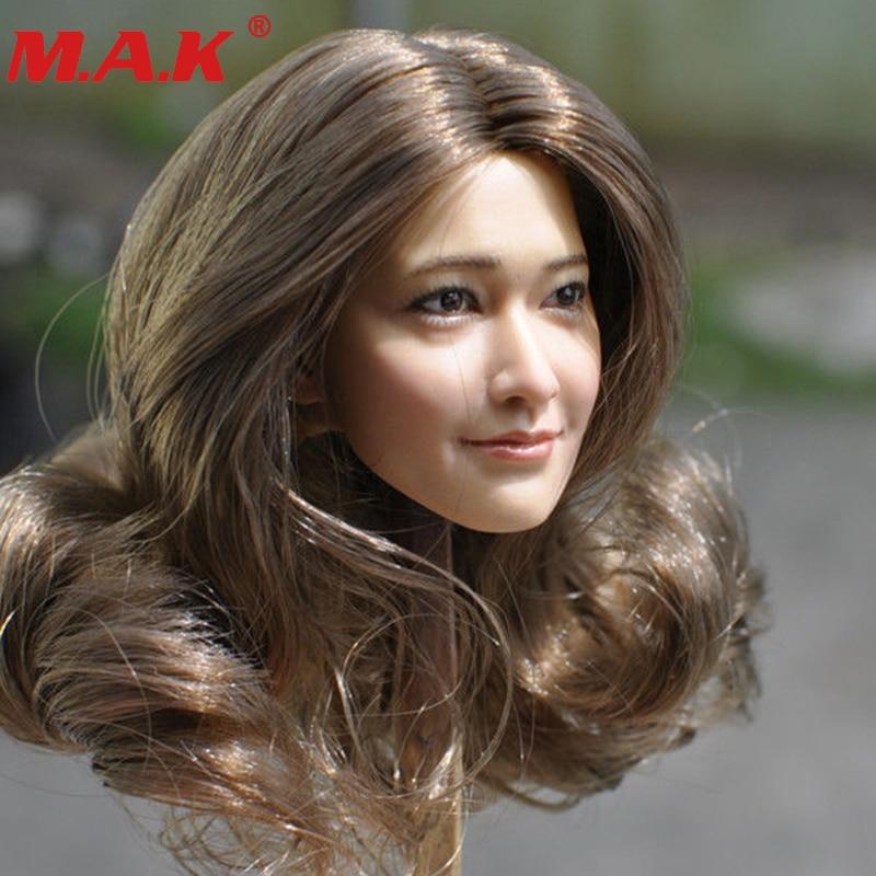1 6 escala kumik km18 29 feminino menina mulher sexy jovem senhora cachos cabeca de cabelo