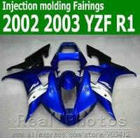 Injection molding fairing kit for YAMAHA R1 2002 2003 white black blue body kit YZF R1 02 03 plastic fairings set JK61