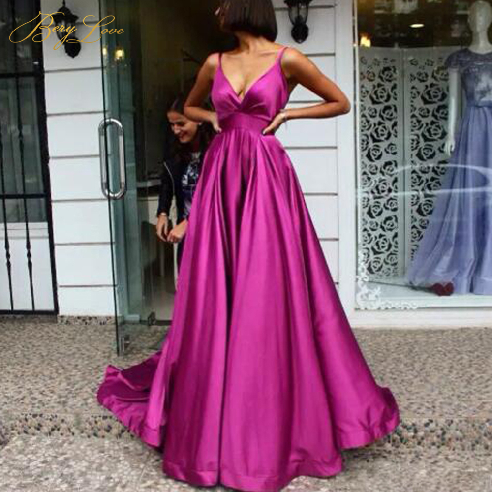Sexy Fuchsia   Evening     Dress   2019 V Neck Satin   Evening   Gowns Long Empire Formal   Evening   Styles Train Novia Prom Gown abendkleider