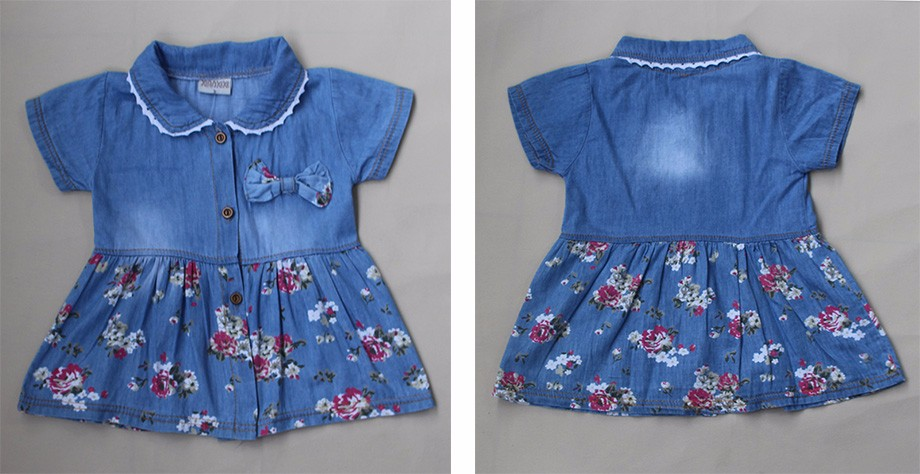 New Spring Autumn Denim Baby Girls Dress Floral Bow Infant Princess Dress Casual Short Sleeve Kids Jeans Dress Baby Girl Clothes 3