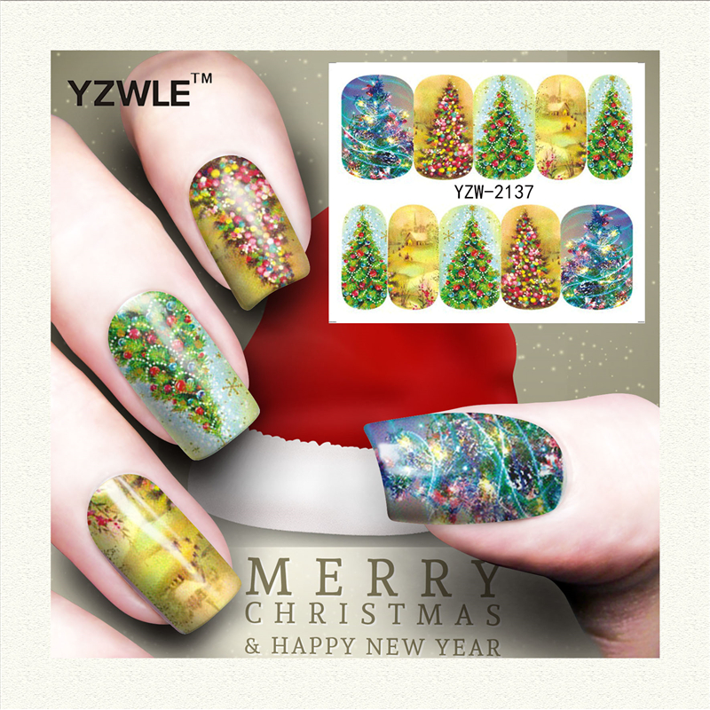 YZWLE 1 Sheet Christmas Design DIY Decals Nails Art Water Transfer Printing Stickers Accessories For Manicure Salon (YZW-2137) yzwle 1 sheet hot gold 3d nail art stickers diy nail decorations decals foils wraps manicure styling tools yzw 6015